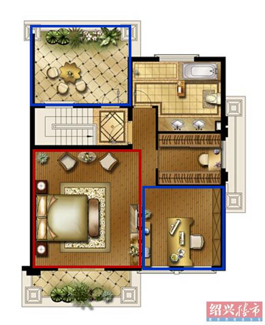地上二層:超大套房尊享品味人生 超大奢侈型套房設計,主次兩臥室各自