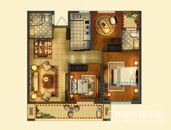 88方C户型-中间套 3室2厅2卫