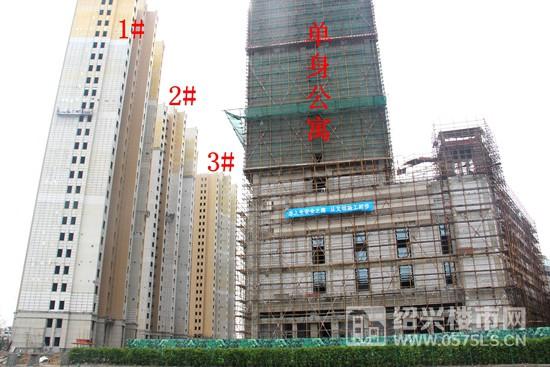 高层1-3#楼已进入外立面施工阶段