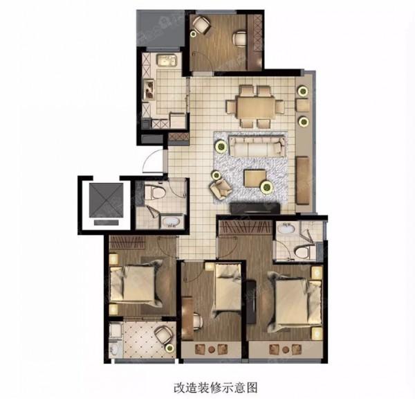 杭州彩虹府99平方米户型