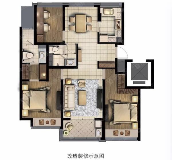 杭州彩虹府84平方米户型