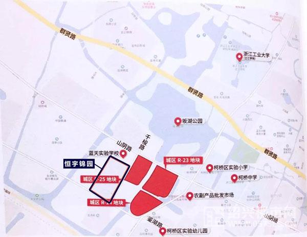 柯桥城区R-23、R-24、R-25地块区位示意图