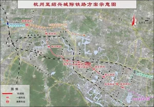 杭州至绍兴城际铁路方案示意图