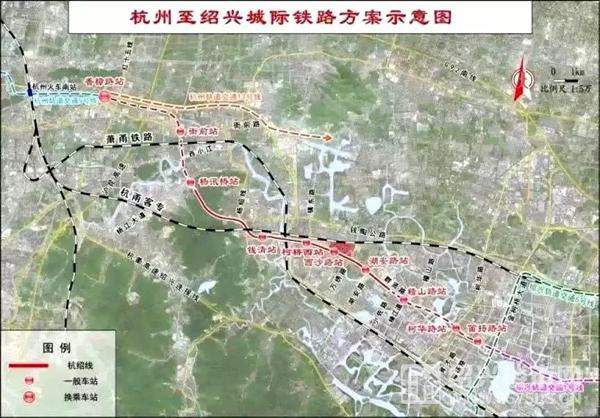 杭紹城際鐵路方案示意圖