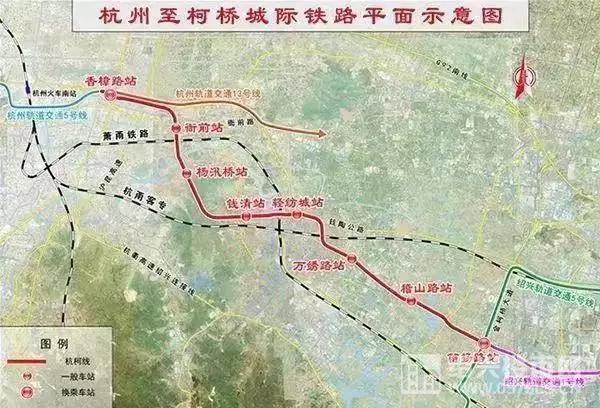 杭绍城际铁路平面示意图(图源:网络)