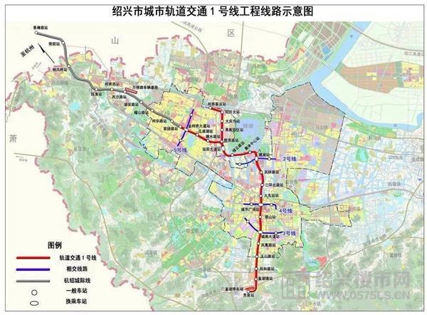绍兴地铁1号线工程线路示意图