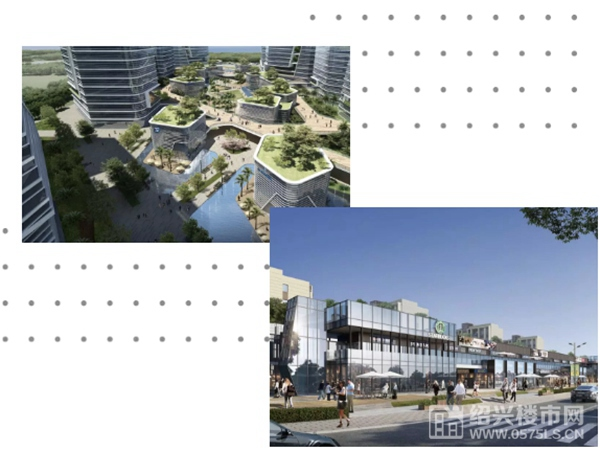 ◎图为创新之城(左上)、风情街区(右下)示意图