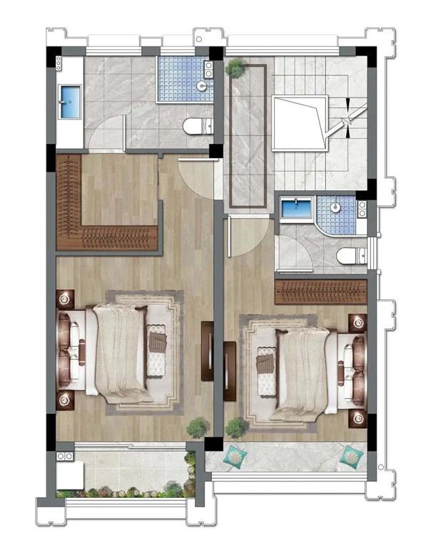 建面约173�O排屋(9#01户型)二楼示意图