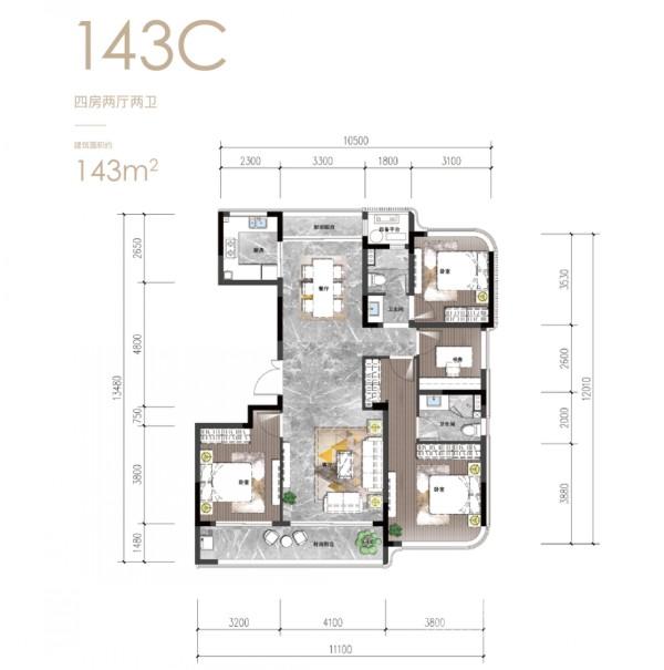 建筑面积约143方户型图