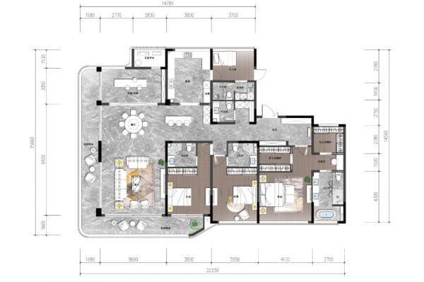 建筑面积约310�O户型图