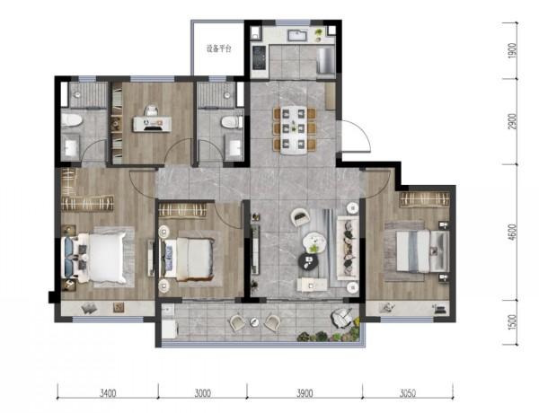 龙湖金帝・天汇建筑面积约128�O户型图(仅供参考)